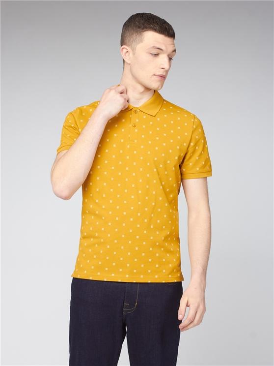 Yellow Geo Print Polo