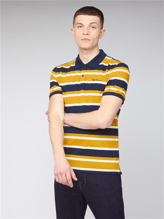 Stripe Pique Polo - New Gold