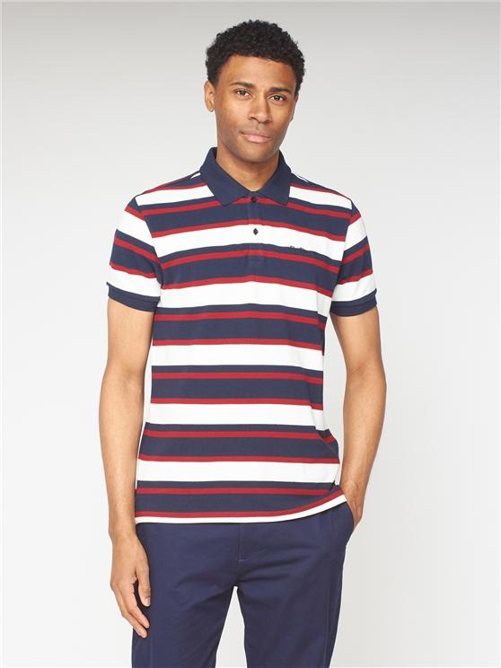 Stripe Pique Polo - Red