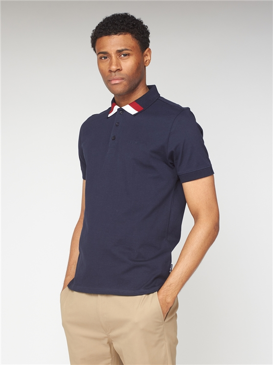 Clean Trim Jersey Polo - Navy