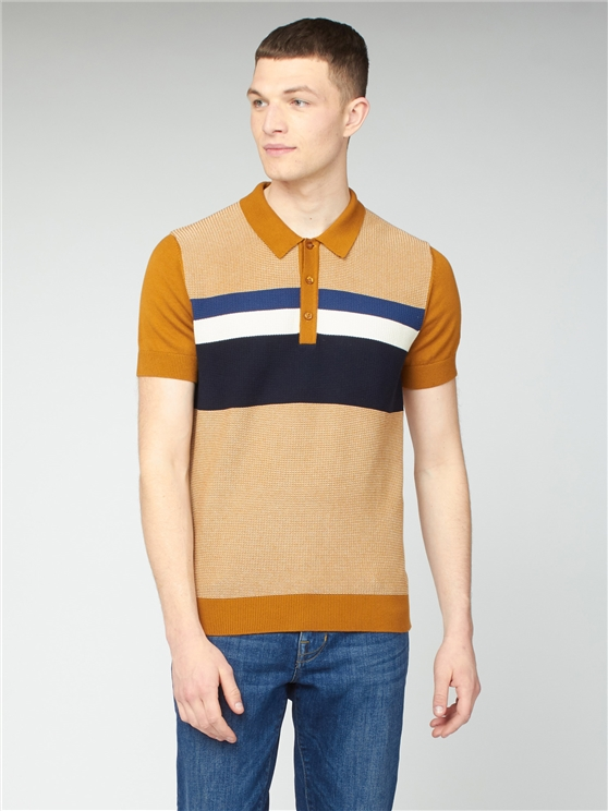 Yellow Chest Stipe Textured Knit Polo Shirt