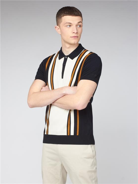 Black Cream Colour Block Knitted Polo Shirt