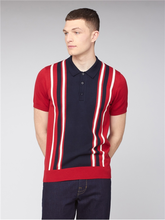 Red Navy Colour Block Knitted Polo Shirt