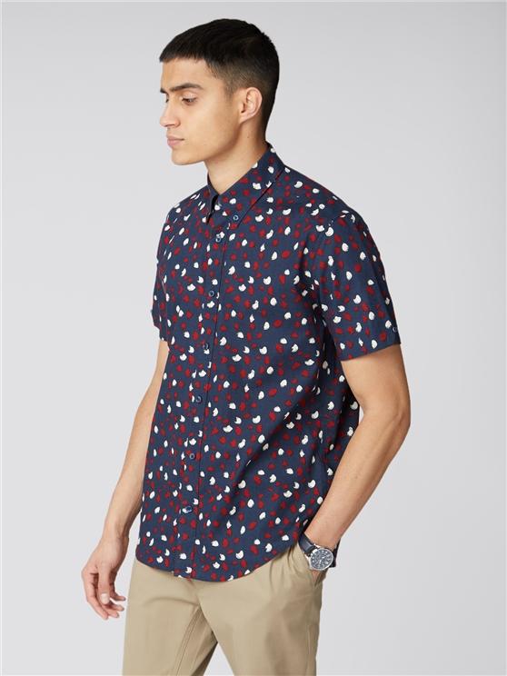 Short Sleeve Feather Print Shirt