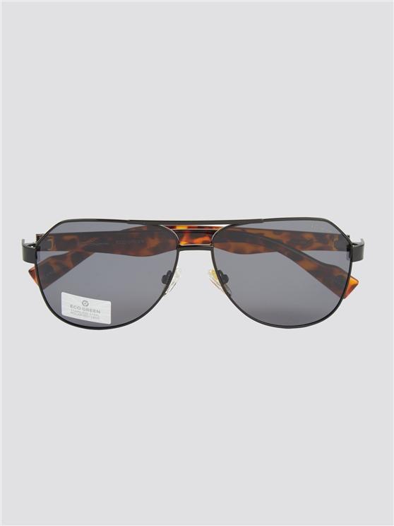 Black Modern Print Aviator Sunglasses