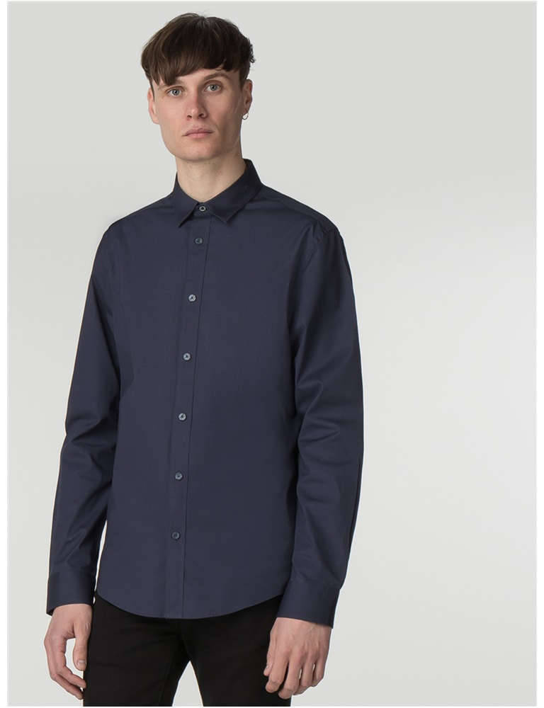 Navy Long Sleeve Stretch Poplin Shirt