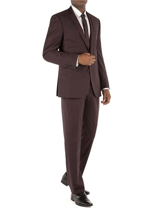 Burgundy Plain Kings Fit Suit