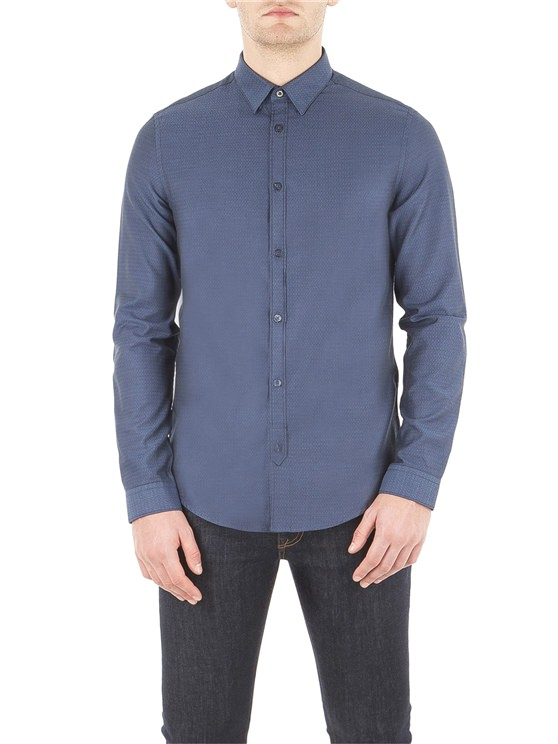 Blue Dobby Textured Shirt