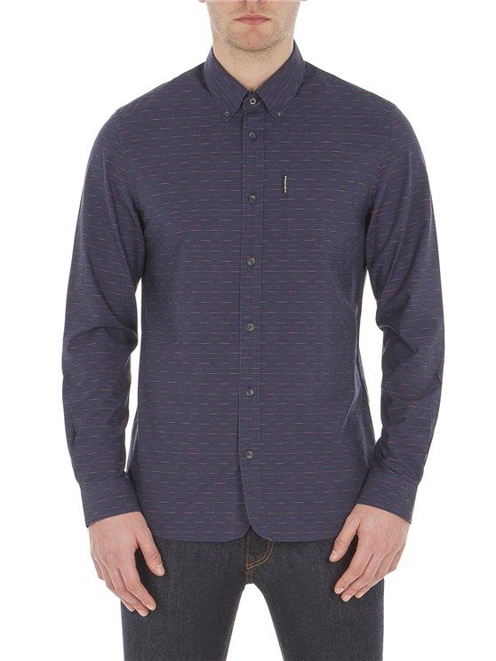 Black Long Sleeve Two Tone Textured Shirt