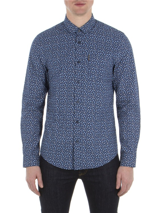 Long Sleeve Micro Floral Shirt