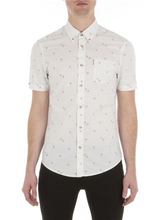 Short Sleeve Palm Treen Print Shirt