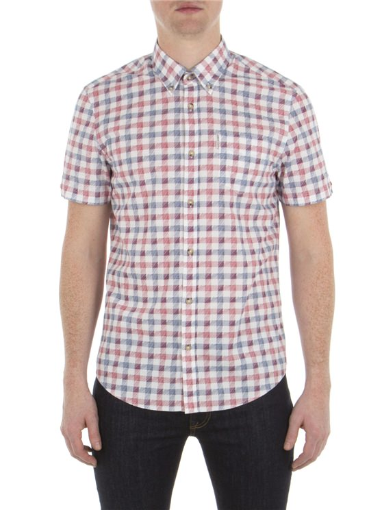 Short Sleeve Sketched House Gingham Shirt