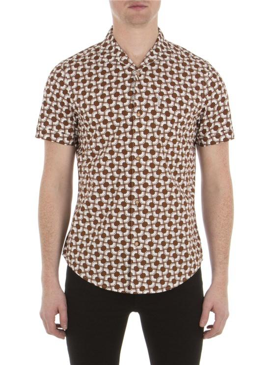 Short Sleeve Optical Stripe Shirt