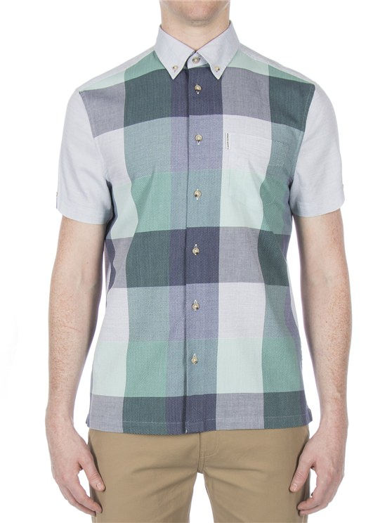 Short Sleeve Front Panel Check Shirt