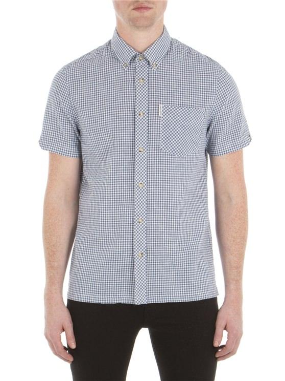 Short Sleeve Linen Gingham Shirt