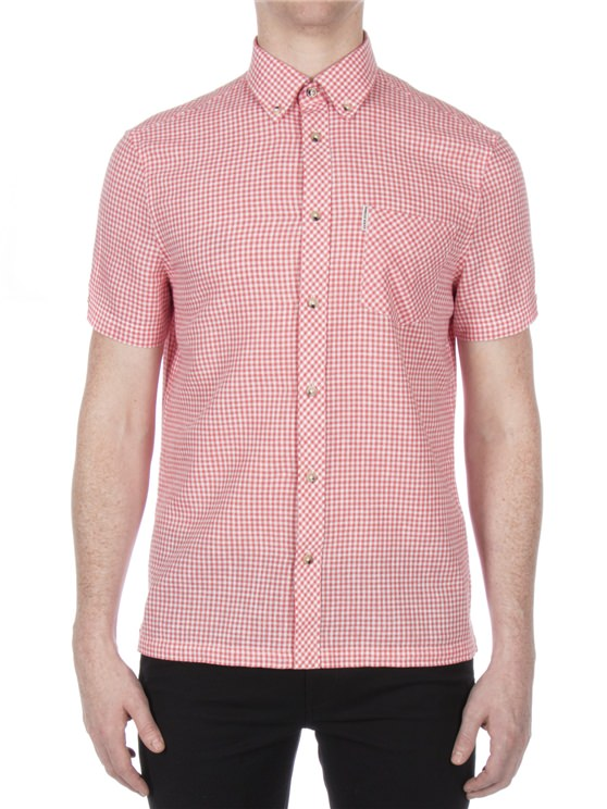 Short Sleeve Linen Gingham Shirt