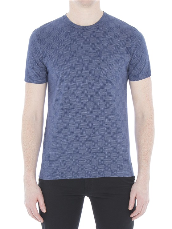 Mixed Texture Chequerboard T-Shirt